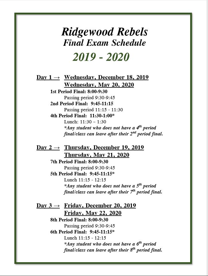 Final Exam Schedule - 2nd Semester | Ridgewood High School